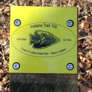 Permanent trail marker on the course. Though these are prominently placed all along the trail to tell runners which way to go, I did not notice any of them until I'd already run seven or eight miles and gone off course roughly a million times.