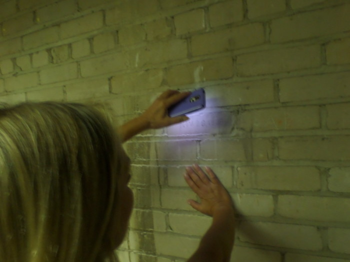 Reading History: Above, volunteer Tammy G assists in deciphering 90-year-old jail graffiti.