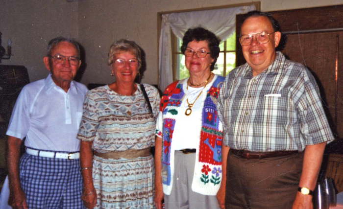Muriel with Historical Society friends, left to right Walter and Mary Cornelius and Muriel and Fred Rounds.