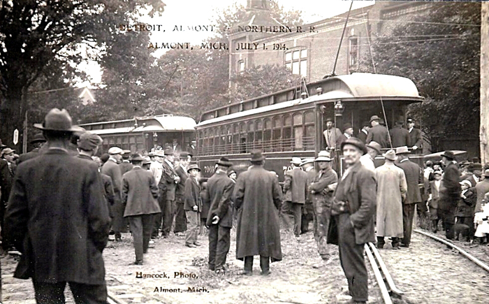 First_interurban_cars_on_the_Detroit,_Almont_and_Northern_Railroad,_Almont,_Michigan,_July_1,_1914.