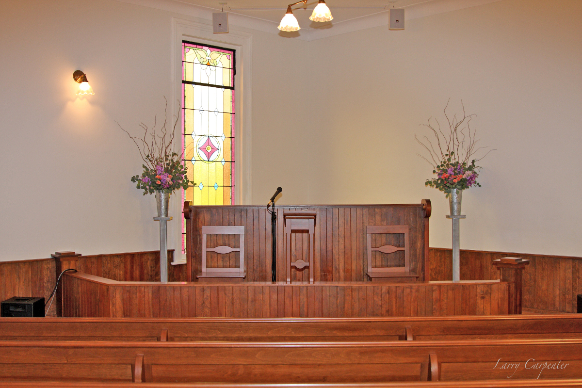 Decorations at the podium inside the church