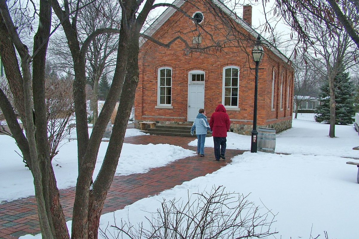 The Poppleton school house makes a cozy place for a book club or meeting