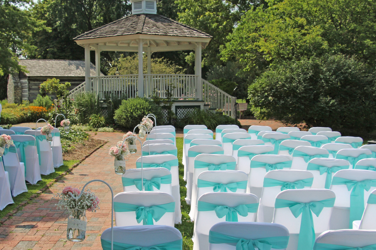 Seating for an outside wedding by the Gazebo