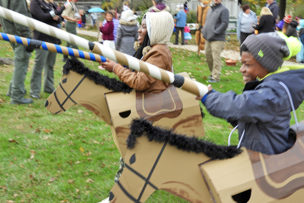 Action Shot of Jousting on the Green