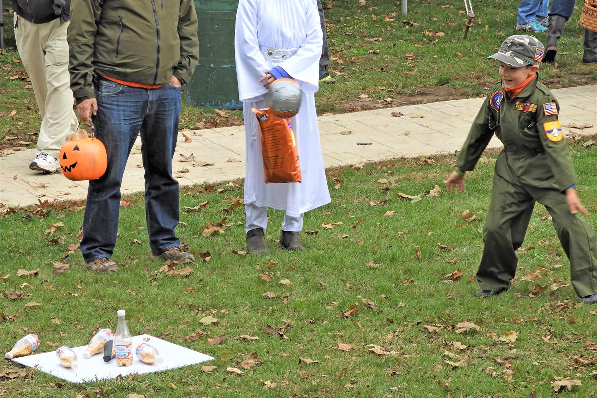 Village Green Pumpkin Bowling Action Shot