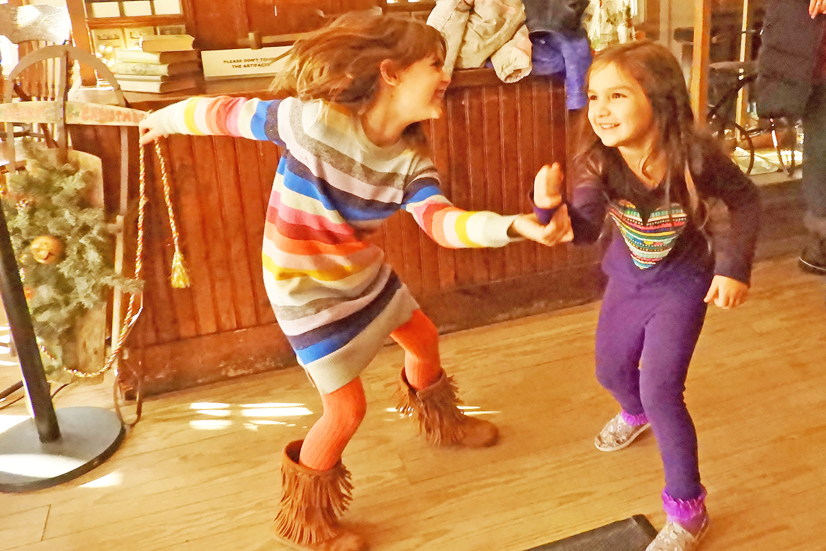 Our visitors dancing to the music in the General Store